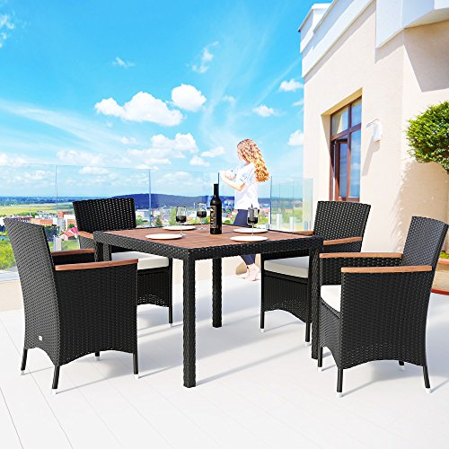 Deuba Garden Furniture Set of 4 + 1 Black Polyrattan 4 Stackable Chairs + Table with Acacia Wood Tray with Cushions and Removable and Washable Covers Cream