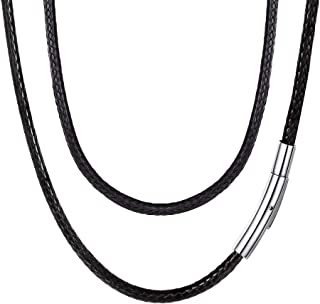 Braided Leather Cord 2MM/3MM Chain Necklace Stainless...