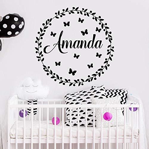 Adhesivo de pared con nombre personalizado para bebé, decoración de habitación de guardería, arte rústico, mural, mariposa, 57 x 57 cm