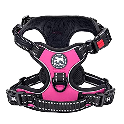 PoyPet No Pull Dog Harness, No Choke Front Lead Dog Reflective Harness, Adjustable Soft Padded Pet Vest with Easy Control Handle for Small to Large Dogs(Pink, Medium) by PoyPet