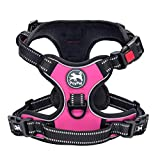 PoyPet No Pull Dog Harness, No Choke Front Lead Dog Reflective Harness, Adjustable Soft Padded Pet Vest with Easy Control Handle for Small to Large Dogs(Pink,L)