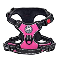 2018 NEW VERSION, SUPER EASY TO USE: This no pull dog harness has 2 easy buckles on belly straps and 1 more lockable Quick-snap buckle on neckline for easy on and off, no need to slip over dog's head and adust the straps every time. ENOY A COSY FIT: ...
