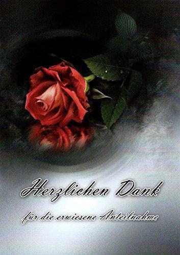 Trauer Danksagungskarten Trauerkarten ohne Innentext Motiv rote Rose 10 Klappkarten DIN A6 mit weißen Umschlägen im Set Dankeskarten Dankeschön Karten Kuvert Danke sagen Beileid K124