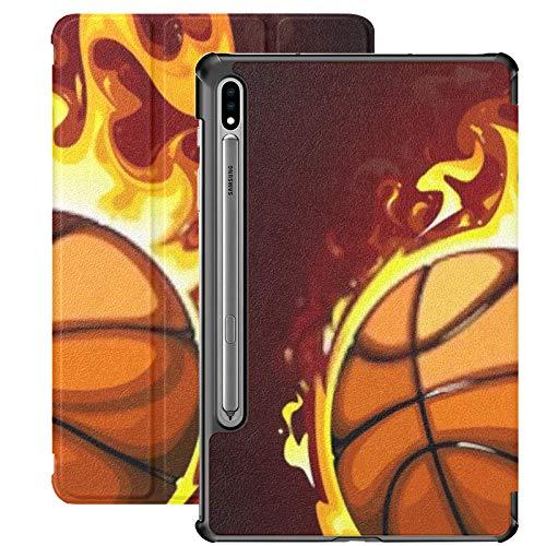 Funda Galaxy Tablet S7 Plus de 12,4 Pulgadas 2020 con Soporte para bolígrafo S, ilustración Vectorial de Baloncesto ardiente Funda Protectora con Soporte Delgado para Samsung