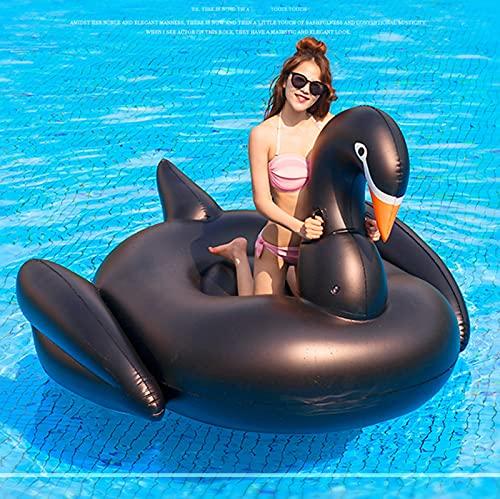 SHENXIAOMING Riesige Aufblasbare Giraffe, Schwan, Kuh, Luftmatratzen Wasser Pool Floß Wasserspielzeug Schwimmen Schwebebett Aufblasbarer Spielzeug Schwimmtier Für Kinder Erwachsene,Schwarz