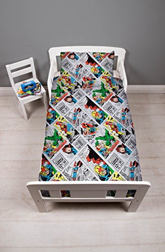 DISNEY MARVEL COMICS Marvel Comics 'Retro' Junior Bed Bundle, 4 in 1, Polyester-Cotton, Multicolour, Single