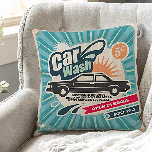 Cushion Covers 45cm x 45cm,1950s Set,Retro Car Wash Auto Service Repair Poster Style Art in ,18x18 inches Soft Polyester Square Decorative Throw Pillow Cases for Living Room Sofa Couch Bed Pillowcases