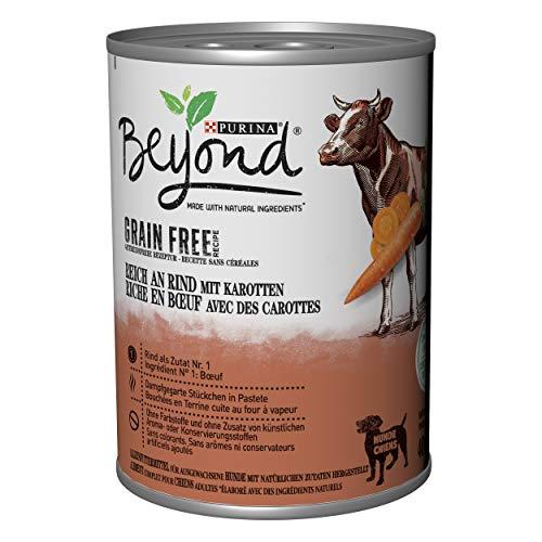 PURINA BEYOND Premium-Hundenassfutter getreidefrei, mit Rind und Karotten, 6er Pack (6 x 400 g Dose)