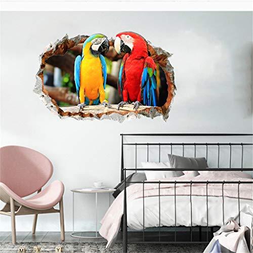 XuanhaFU - Adhesivo decorativo para pared, diseño de loro de pared en 3D, pvc, multicolor, 40cm X 60cm