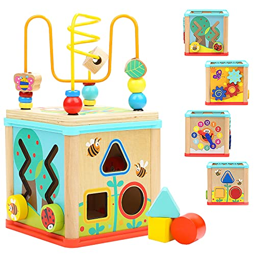 TOP BRIGHT Toddler Activity Cube Toy, Classic Wooden Toy with Bead Maze and Shape Sorter Gift for 1 2 3 Year Old Baby Girl Boy
