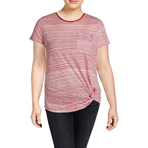 LAUREN RALPH LAUREN Womens Plus Knot-Front Striped T-Shirt Red 1X