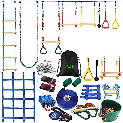 Carrera de obstáculos de 50 pies Ninja para niños Adultos - Ninja Slackline Kits Kids Tree Swing Jungle Gym Monkey Barras Gimnasio Anillos Cuerda Escalera Escalada Net Outdoor Ninja Guerrero Entrenam