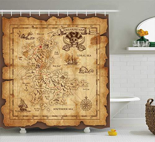 vrupi Insel Karte Duschvorhang super detaillierte Schatzkarte Land Pirat Gold geheime Karte Muster Tuch Badezimmer Dekoration Pop Tuch Duschvorhang mit 12 Haken neumodischen heißen