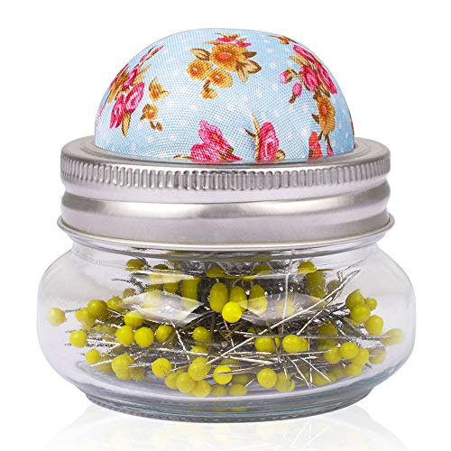 eZAKKA Sewing Pins with Needle Cushion Holder and Glass Bottle 200 Pieces Pearl Needles Quilting Pin Cushion Kit