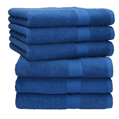 Betz Juego de 6 Toallas de Lavabo Palermo 100% Algodon 50x100 cm Colores Diversos Color Azul
