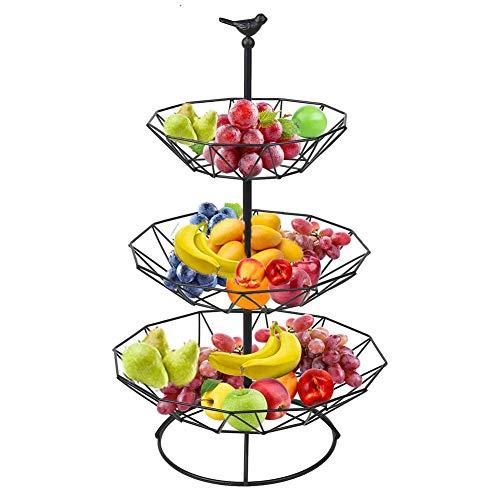 DLILI 3-nivåer bänkskiva i metall fruktkorg fruktkorg fruktskål för bord avtagbar grönsaksbrödkorg display förvaringsställ badrum organisation, svart, korg förvaringslåda