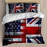 SUPERQIAO Union Jack Juego de Funda nórdica Alliance Togetherness Theme Composición de Banderas del Reino Unido y EE. UU. Vintage, Juego de Cama Decorativo de 3 Piezas con 2 Fundas de Almohada