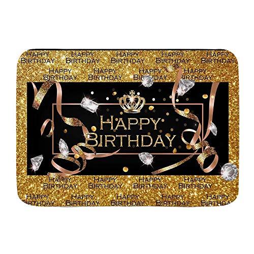 XWJZXS Tapis de salle de bain antidérapants , Glitter Gold Diamond Joyeux anniversaire Silver Crown Party ations , Tapis de bain absorbantPaillasson Tapis de sol épais et durable pour porte de cuisine