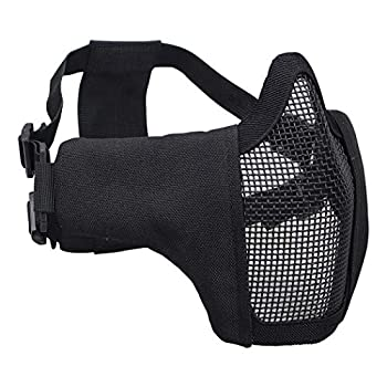 IDOGEAR Airsoft Masks,Adjustable Airsoft Half Face Mask Steel Mesh,Military Style Tactical Lower Face Mask for Hunting,Paintball,Shooting  Black