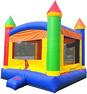 Inflatable Bounce House, 13-Foot by 12-Foot Bounce Area, Crossover Rainbow Castle Complete with Included Blower, Stakes, Repair Kit, and Storage Bag