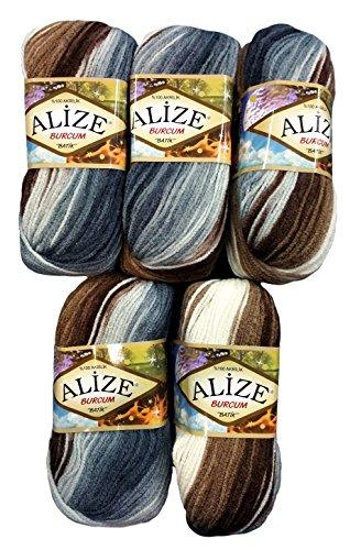 Alize Burcum Batik - Gomitolo di lana, 5 x 100 g, diversi colori con gradiente, 500 g