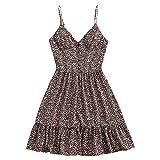 ZAFUL Women's Mini Dress Spaghetti Straps Sleeveless Boho Beach Dress (S, Purple-Ditsy Button)