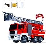 Darenbp Télécommande électrique Camion de Pompiers 2.4GHz Jet d'eau Camion à Benne Rescue R/c Moteur Camion de Pompiers Jouet Camion de Pompier avec des lumières et des Sons 500ML Grande capacité 2-