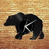 NIGU Dormitorio accesorios caja de regalo regalos de boda oso vinilo reloj de pared registro animales amantes regalo único decoración hogar oficina diseño vintage oficina bar habitación decoración