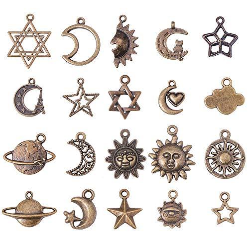 Amacoam 40 Stück Retro Silber Tibetanische Anhänger Gemischte Antique Bronze Interstellar Serie Anhänger Legierungs Anhänger DIY Handgemachten Schmuck Zubehör