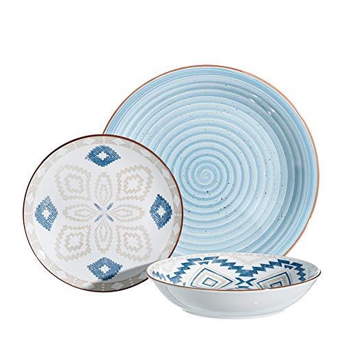 Vajilla completa mosaico azul de porcelana de 18 piezas - LOLAhome