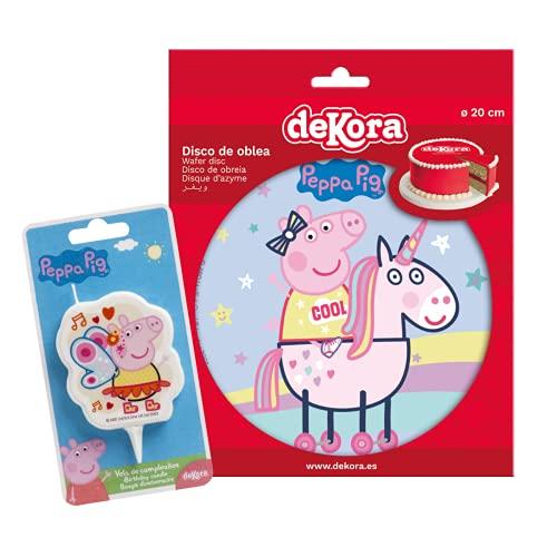 Pack Decoración Tartas de Cumpleaños Infantiles - Disco de Oblea Comestible y Vela de Cumpleaños - Personaje Peppa Pig - Diseño Unicornio Arcoiris