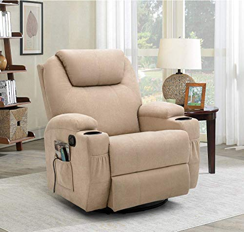 Flamaker Rocking Chair Recliner Chair with Massage and Heating 360 Degree Swivel Ergonomic Lounge Chair Classic Single Sofa with 2 Cup Holders Side Pockets Living Room Chair Home Theater Seat (Beige)