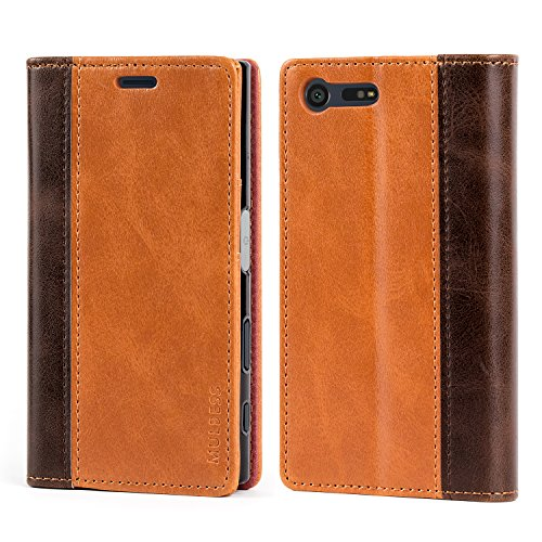 Mulbess Coque pour Sony Xperia X Compact, Housse en Cuir Sony Xperia X Compact, Book Etui Protection pour Sony Xperia X Compact Case, Marron