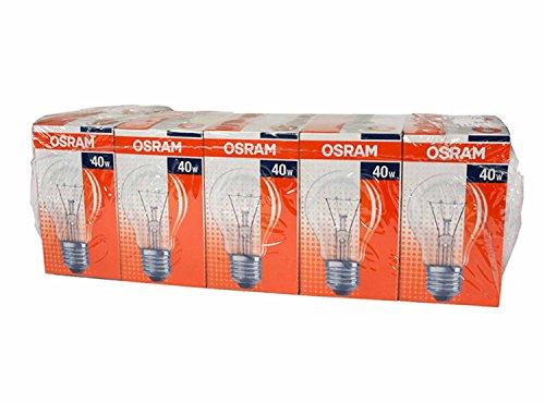 Osram Glühlampe Birnenform, 10er, 40 Watt, E27, klar, 30800003