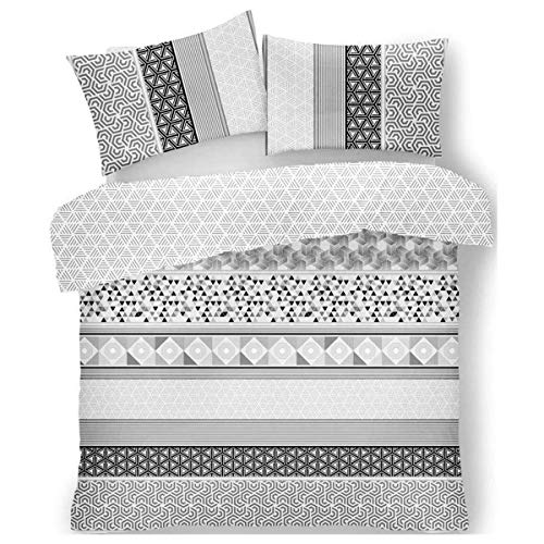 FAIRWAYUK Grey Bedding Set Geometric Quilt Duvet Cover With Pillow Case Easy Care (Grey, Double)