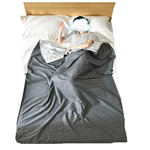 Baumwolle Umschlag Typ Schlafsack Im Freien Reise Hotel Camping Wandern Einzel/Doppel Gesunde Schlafsack (Schwarzes Gitter, 47