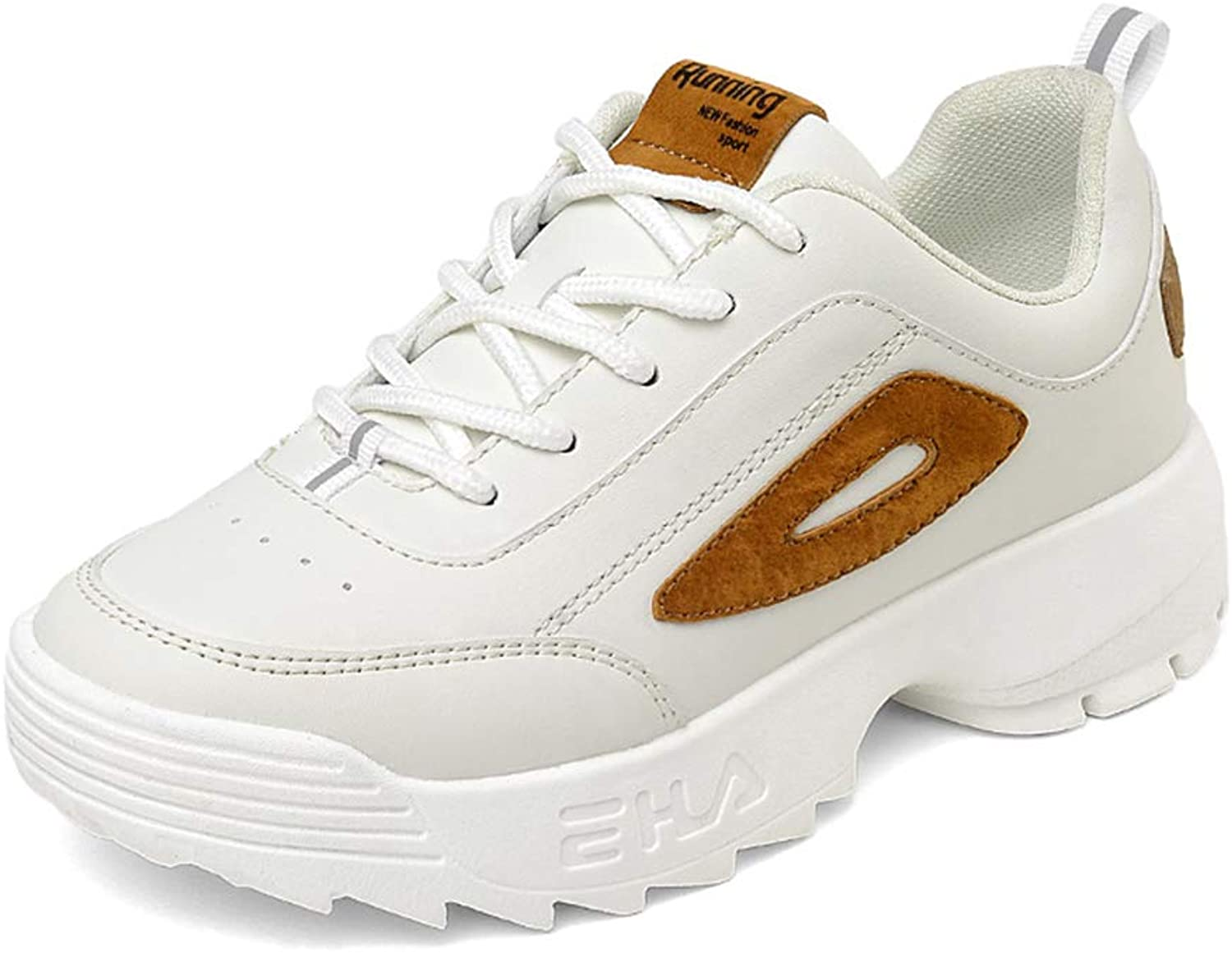 Sport Women's Lace-up Sneaker Walking Comfortable Casual Fitness shoes (color   Beige, Size   37)
