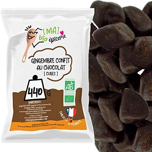 [MA] bio-épicerie   Gingembre confit en cubes enrobés de chocolat   440G   Sachet vrac   Certifié biologique   Fruit confit et chocolat de qualité supérieure   Sans conservateur