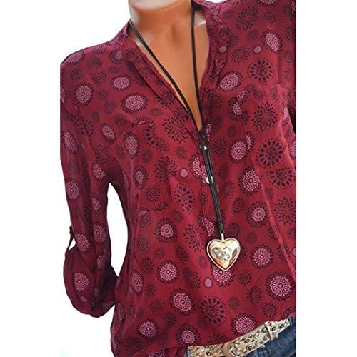 Damen Blusen Ronamick Frau Übergröße Drucken Langarm Polka Dot Button Bluse Pullover Tops Shirt (Wein rot, 3XL)