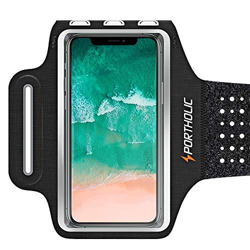 Sportarmband Handy, PORTHOLIC Schweißfest Sport Armband für iPhone 12 Pro, 11, XR, XS, X, Galaxy S20+ S10+ S20 A70 A50 A51 M31, Huawei P40 P30 für Joggen Radfahren, mit Verlängerungsband, Bis zu 6,7