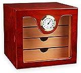 JIAWYJ XIAOJUAN Caja de cigarros con higrómetro y humidificador/Revestimiento de Madera de Cedro / 4 cajones Conjunto de Regalo de Hombre (Color: Rojo) Caja Decorativa (Color: Rojo) (Color : Red)