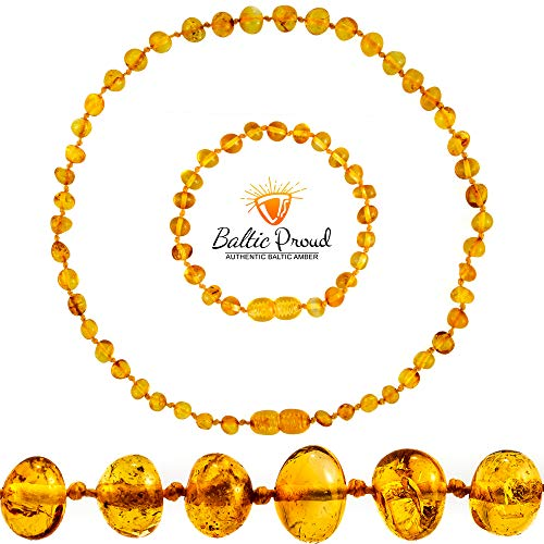 Baltic Amber Necklace and Bracelet Gift Set (Unisex Honey 12.5 Inches/5.5 Inches) - Certified Premium Quality Raw Baltic Sea Amber