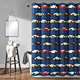 Lush Decor, Navy Cars Shower Curtain-Fabric Racing Print Design for Kids, x 72