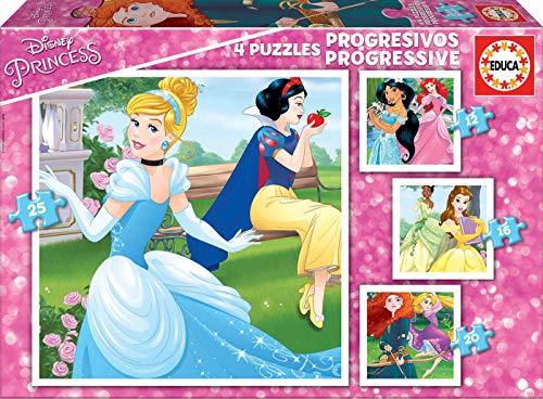 Educa - Princesas Disney Conjunto de Puzzles Progresivos, Multicolor (17166)