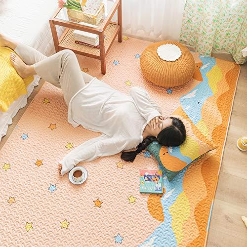 Xinrui Alfombra de suelo de algodón puro para dormitorio, mesita de noche, salón, totalmente de algodón súper grande, alfombra antideslizante tatami (C, 150 x 210 cm)