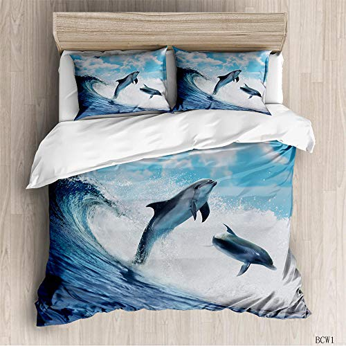aakkjjzz Double Duvet Covers Set Easy Care Hypoallergenic 3 Pcs Bedding Set Microfiber Machine Washable Dolphins and Waves Quilt Cover 200X200cm and 2 Pieces Pillowcases 50X75cm for Double Bed
