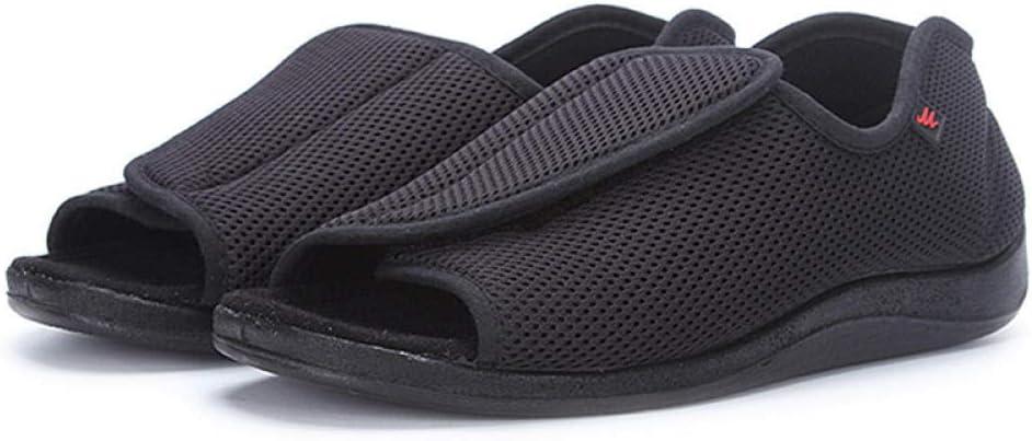CCSSWW Zapatos DiabéTicos Respirable Zapatillas,Zapatos de pie Ultra Anchos, Sandalias de Interior/Exterior-Negro_36,Velcro Zapatillas OrtopéDica para