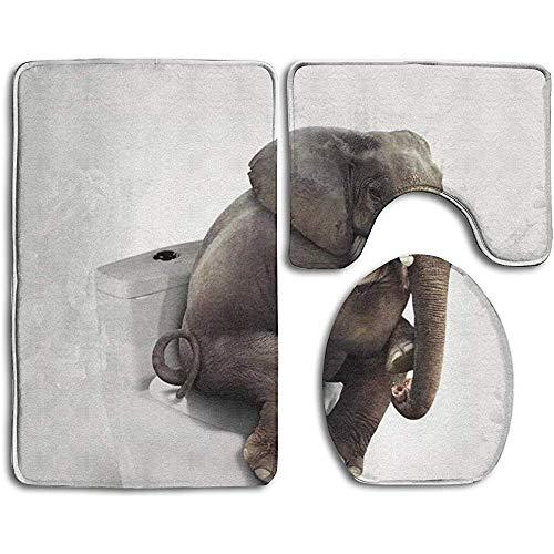 GABRI Lustiger Elefant, der auf Toilette sitzt 3-teiliger Rutschfester Toilettensitz U-förmiger Bezug Bademattendeckel