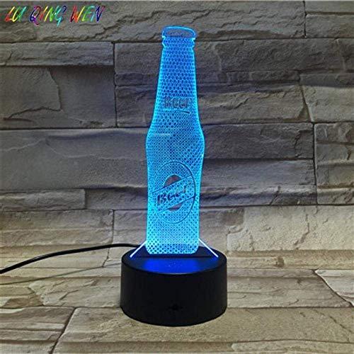 MQJ Lámpara de Ilusión 3D Led Luz de Noche Botella de Cerveza Touch Sensor Touch Sala de Estar Luminaria Regalo Batería Lámpara de Mesa Usb Mejores Regalos de Vacaciones de Cumpleaños para Niños
