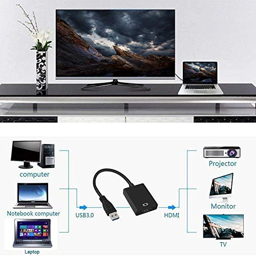 KKshop USB zu HDMI Adapter, USB 3.0 to HDMI Adapter USB HDMI Konverter 1080P HD Video Audio Multi Monitor Adapter Konverter für Windows 7/8/10